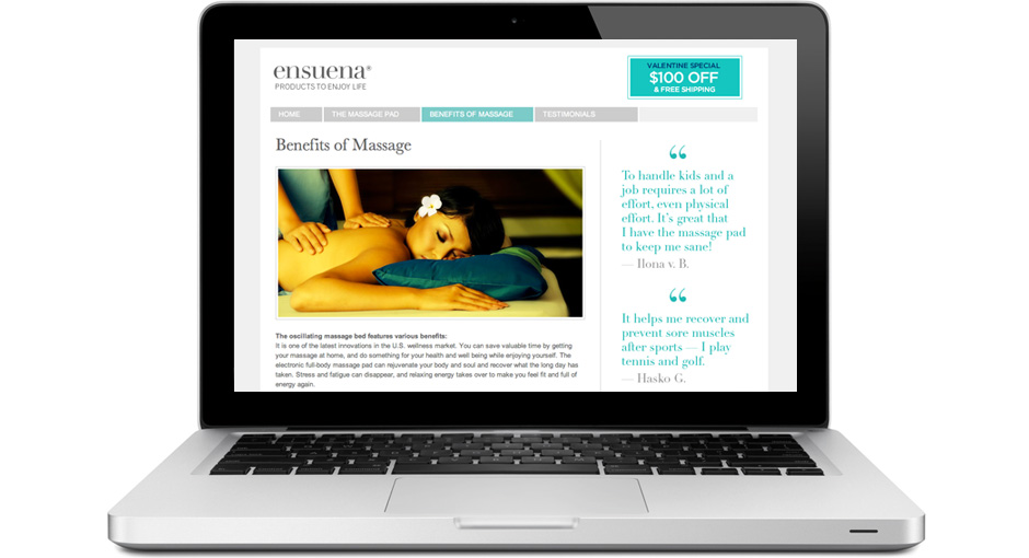 Website design: The Benefits of Massage page