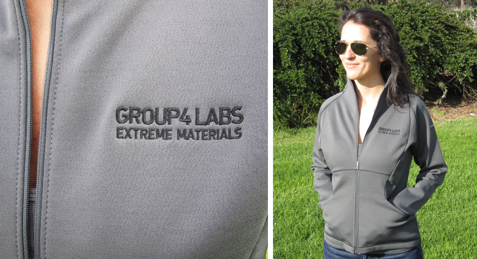 Branded corporate jacket for women in gray