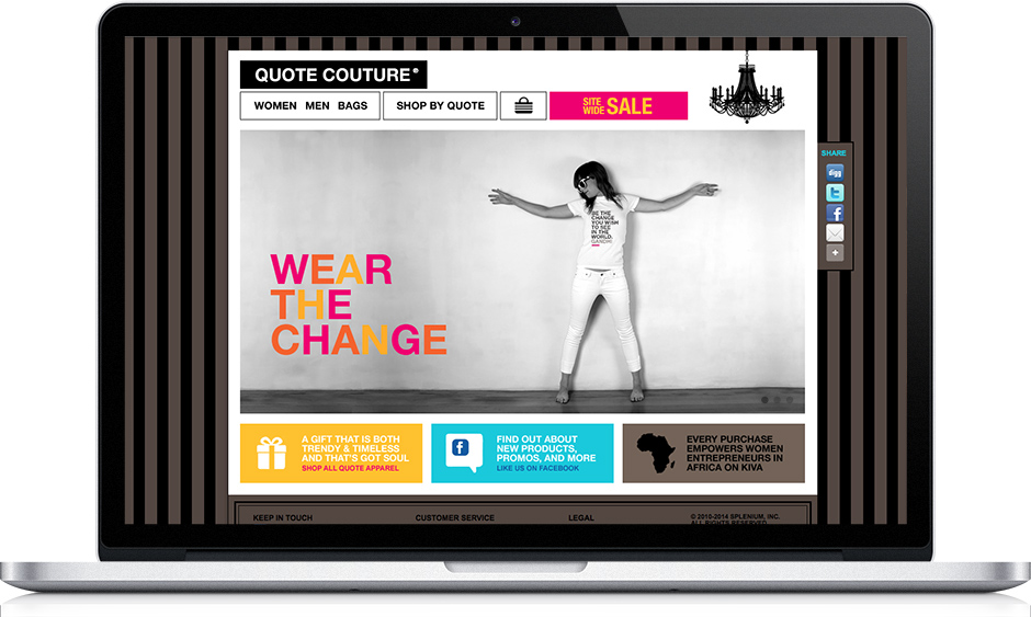 Web app design: Quote Couture eCommerce app home page