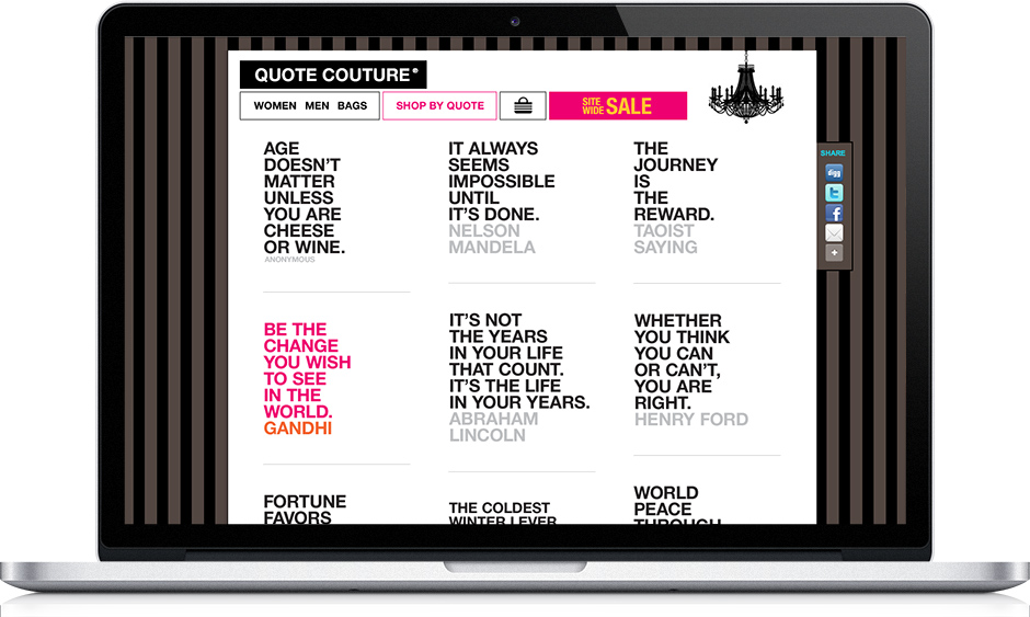 Web app design: Quote Couture eCommerce app 'shop by quote' page