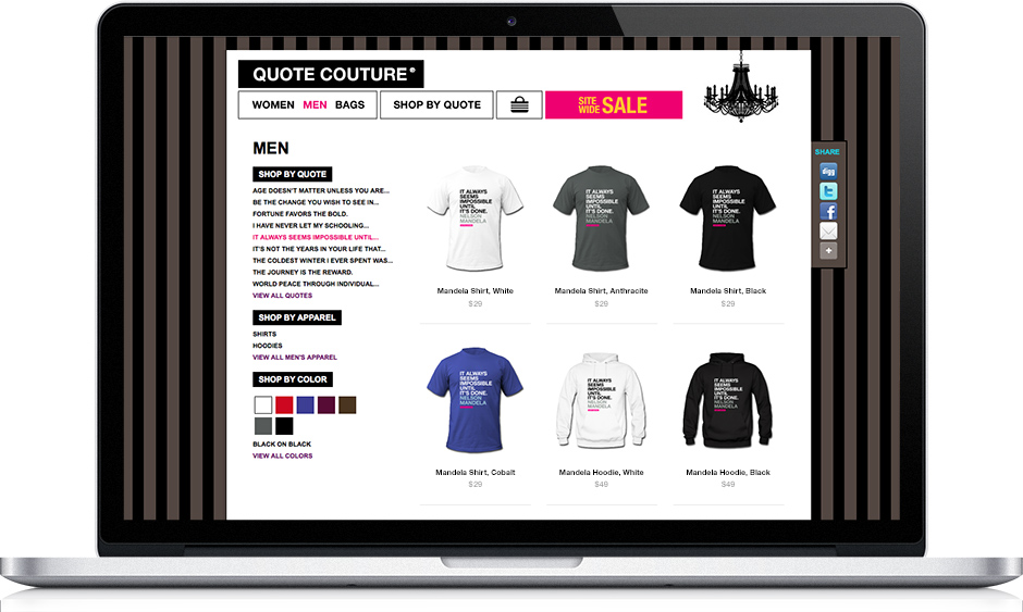 Web app design: Quote Couture eCommerce app product category page