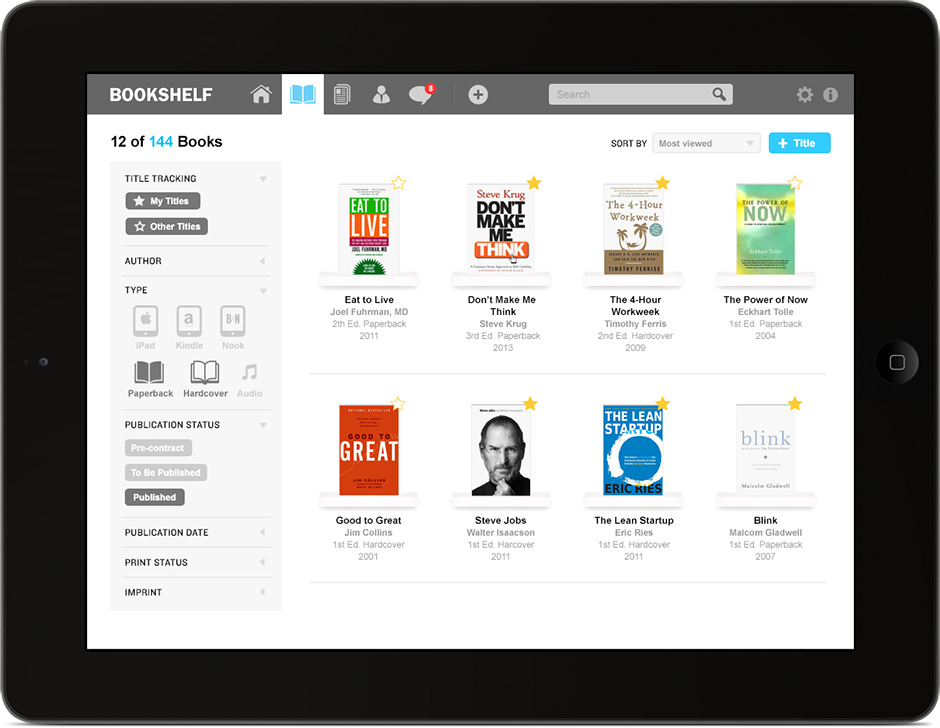 IPad App Design The Titles Screen Bookshelf